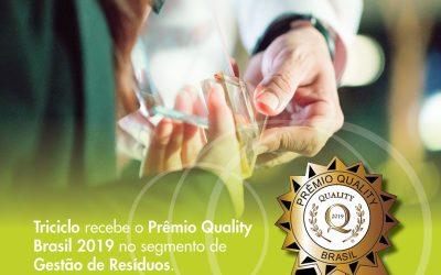 Triciclo recebe o prêmio Quality Brasil 2019